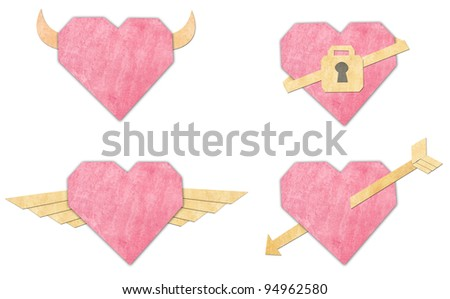 Old paper heart isolated on white background - stock photo