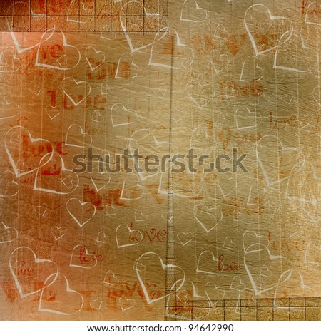 Old paper in grunge style. Abstract background with hearts