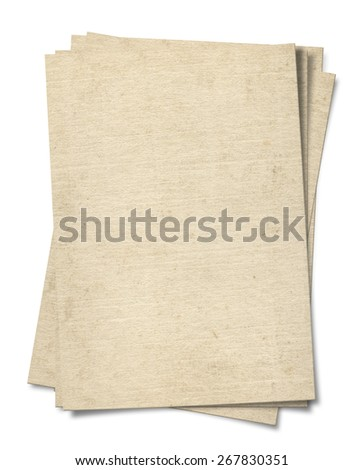 Old paper isolated on a white background.(Clipping Path) - stock photo