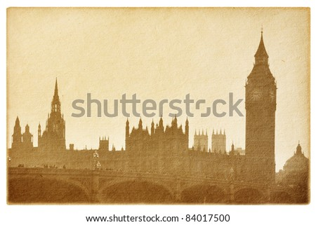 old paper  isolated on the white. Buildings of Parliament with  Big Ben tower in London UK. - stock photo