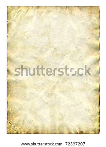 Old paper isolated on white - stock photo