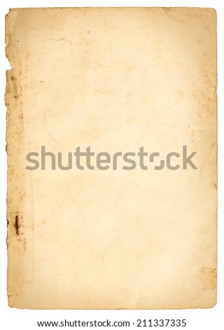 Old paper isolated on white background - stock photo