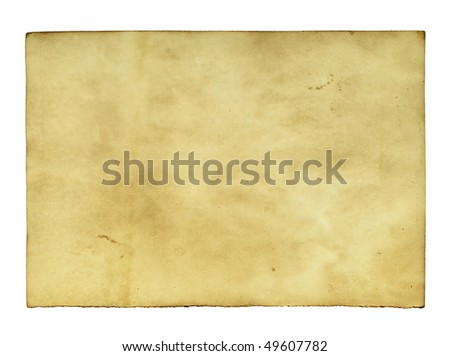 Old paper isolated over the white background - stock photo