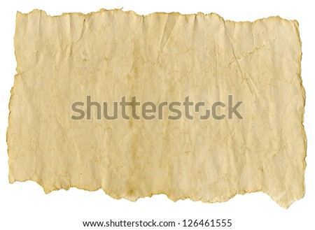 Old paper,  isolated over white background - stock photo