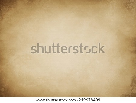 old paper kraft texture or background with stripes,  splatters and dark vignette borders  - stock photo