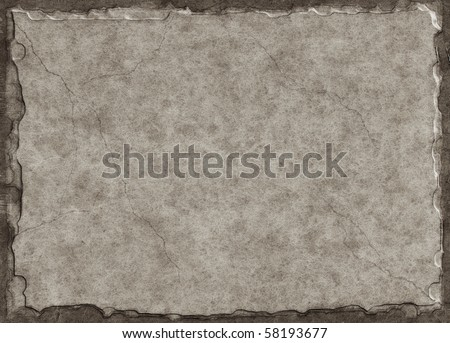 Old paper made to look like a stone tablet with a three-dimensional look and subtle crack lines. - stock photo