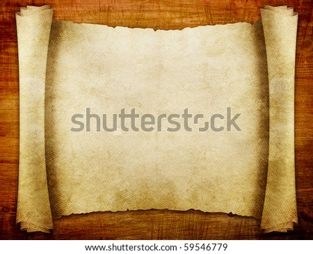 old paper manuscript on brown wood texture with natural patterns - stock photo