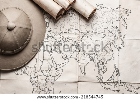old paper map - stock photo