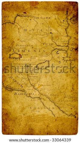 Old paper  map retro ancient Armenia. - stock photo