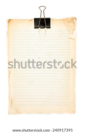 Old paper note and Black clip on white background