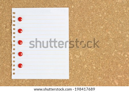 old paper note background cork board - stock photo