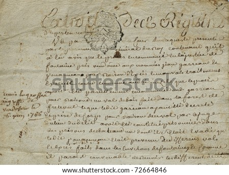 old paper of French civil law notary