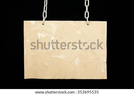 old paper on a black background - stock photo