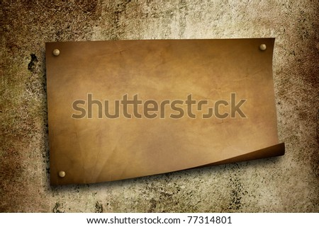 old paper on grunge wall - stock photo