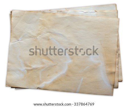 old paper on isolated white with clipping path.