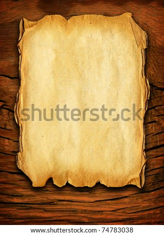 Old paper on the wood - stock photo