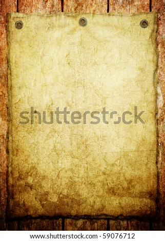 old paper on wood background (vintage announcement ) - stock photo