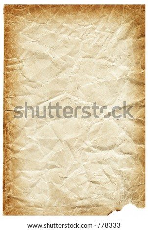 Old Paper Page Torn and Discolored Yellowed - stock photo