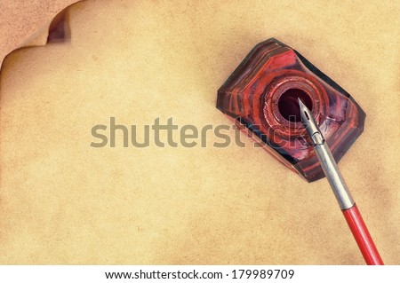 old paper pen fountain and red inks - stock photo