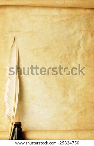 Old paper, quill & ink - stock photo