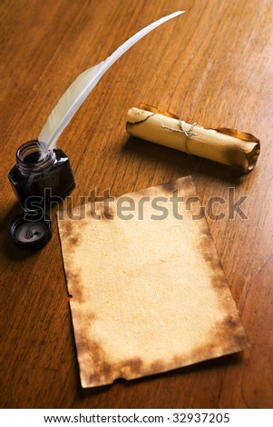 Roll Parchment Ink Pot Writing Quill Stock Photo 1380053