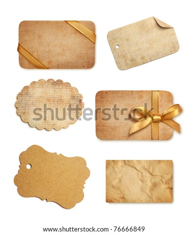 old paper sales tags and labels on white background