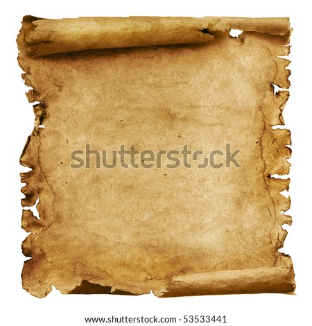 Old paper scroll isolated on white - stock photo