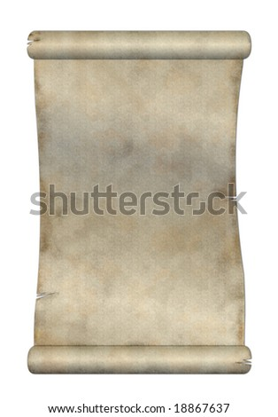 Old paper scroll on white background - stock photo