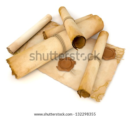 Old paper scroll with wax seal. Pile of archival documents. Conceptual illustration. Isolated on white background. 3d render - stock photo