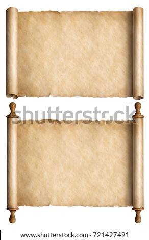 Old paper scrolls or ancient parchments collection isolated 3d illustration