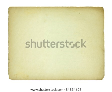 old paper sheet isolated - stock photo