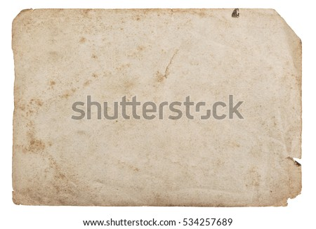 Old paper sheet isolated on white background. Abstract cardboard texture.