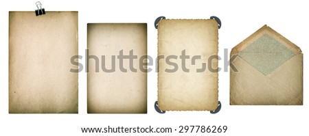 Old paper sheets and envelope. Grungy textured cardboard isolated on white background. Scrapbook elements. Vintage style toned - stock photo