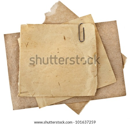 Old Paper sheets for letter with clip  isolated on white - stock photo