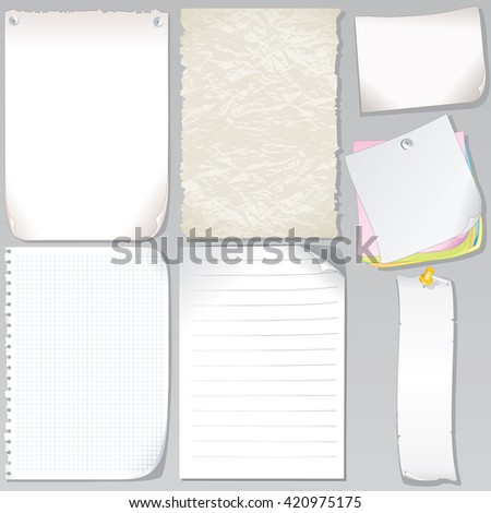 Old Paper Sheets. Graph Paper, Torn Paper, Notepad Page, Stickers and Sticky Note - stock photo