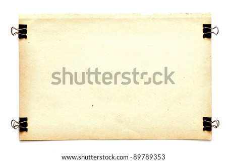 old paper sheets with clips isolated on white - stock photo
