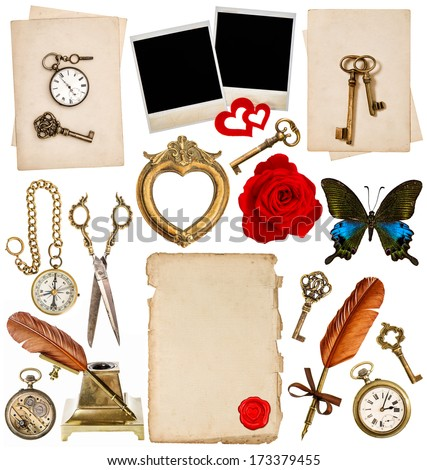 old paper sheets with vintage accessories isolated on white background. antique clock, key, postcard, photo frame, feather pen, glasses, compass, scissors, flower, butterfly. objects for scrapbook - stock photo