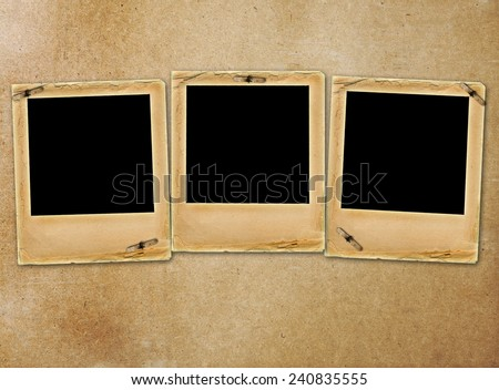 Old paper slides for photos on rusty abstract background  - stock photo