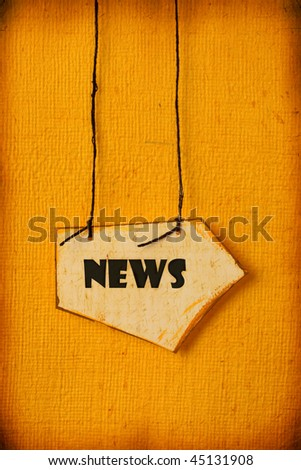 Old paper tag with News word