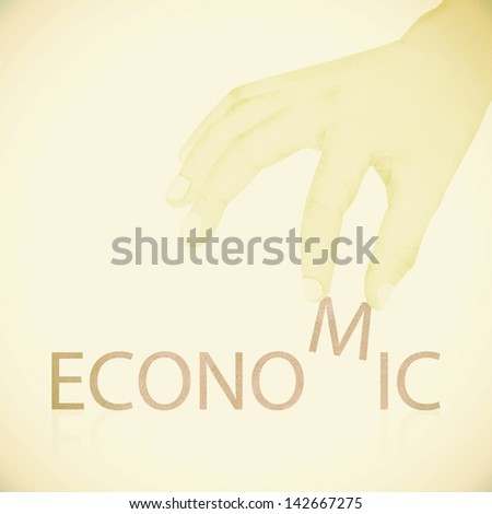 Old Paper texture ,Hand made economic word - stock photo