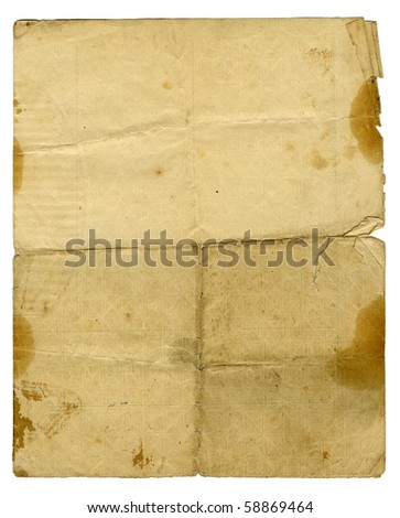 old paper texture isolated on a white background - stock photo