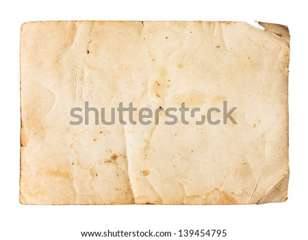 Old paper texture, isolated on white - stock photo