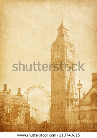old paper texture. London, UK. View from Abingdon street. sepia - stock photo