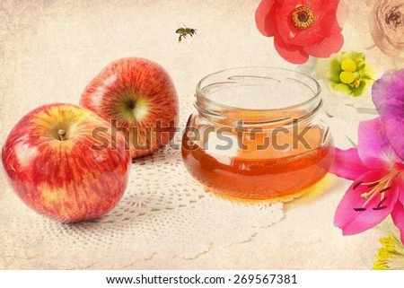 Old paper texture with apples, honey in the glass pot, bee and flowers composition. Aged textured photo - stock photo