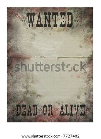 Old paper texture with blood drops (Wanted) - stock photo