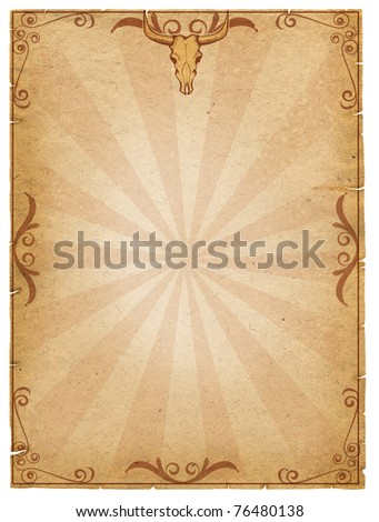Old paper texture with cow skull decoration for text.Vintage - stock photo