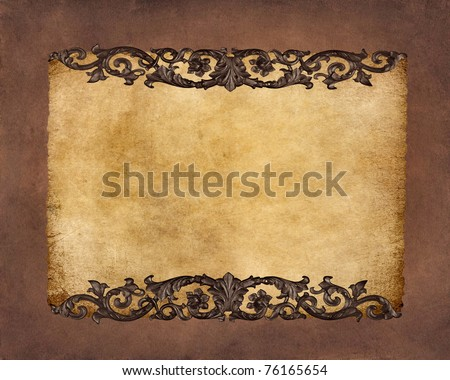 Old paper texture with floral frame - stock photo
