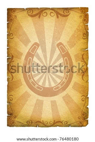 Old paper texture with horseshoes for design.Cowboy poster - stock photo