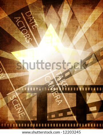 Old paper texture with some stains, star, film strip and clapboard