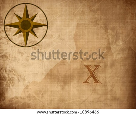 Old paper texture with treasure map - stock photo